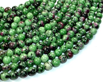 Ruby Zoisite Beads, 8mm(8.3mm) Round Beads, 15.5 Inch, Full strand, Approx 49 beads, Hole 1 mm (394054001)