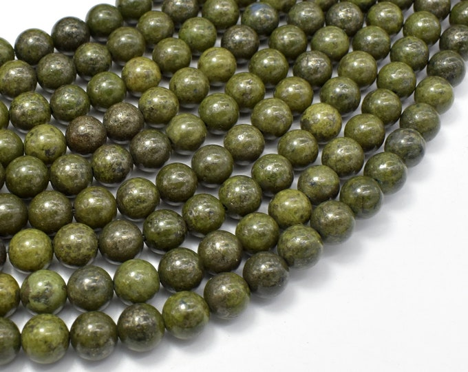 Epidote-Pyrite Inclusion, 8mm(8.3mm) Round beads, 15.5 Inch, Full strand, Approx 48 beads, Hole 1mm (261054002)