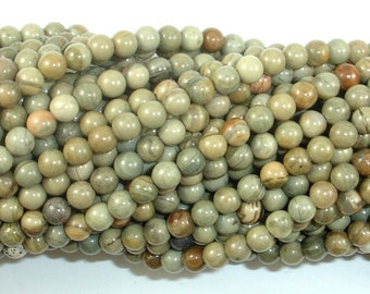 Silver Leaf Jasper Beads, 4 mm (4.5mm) Round Beads, 15.5 Inch, Full strand, Approx 90 beads, Hole 0.8mm, A quality (406054013)