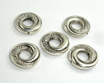 Metal Rings, Metal Spacer-Bead Frame,  Zinc Alloy, Antique Silver Tone, 14x3mm, 10 pcs, Hole 1mm (006869006)