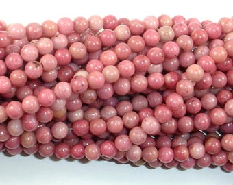 Rhodonite Beads, Pink Rhodonite, 4mm (4.6mm) Round Beads , 15.5 Inch, Full strand, Approx 88 beads, Hole 0.8mm, A quality (386054016)