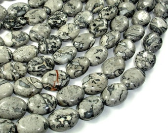 Gray Picture Jasper Beads, 12x16mm Oval Beads, Full strand, Approx 25 beads, Hole 1 mm, A quality (141030007)