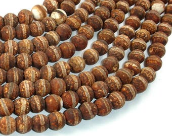 Crackle Tibetan Agate, 8mm Round Beads, 14 Inch, Full strand, Approx 49 beads, Hole 1.2mm (122054267)