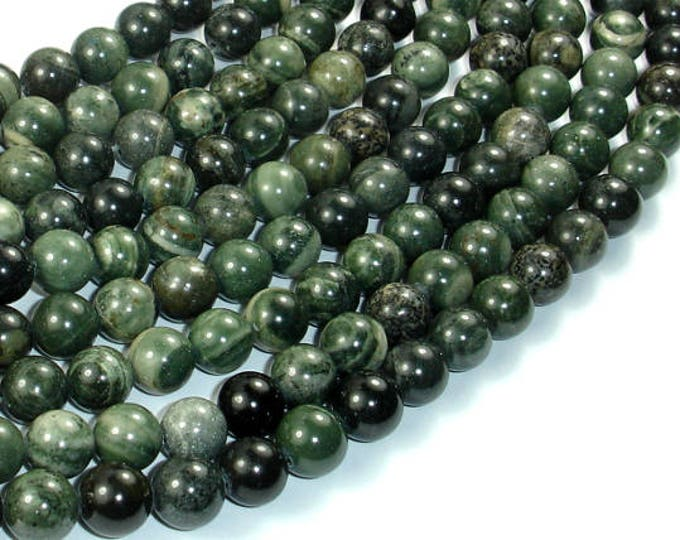 Green Rhodonite Beads, 8mm Round Beads, 15.5 Inch, Full strand, Approx 49 beads, Hole 1mm, A quality (254054002)