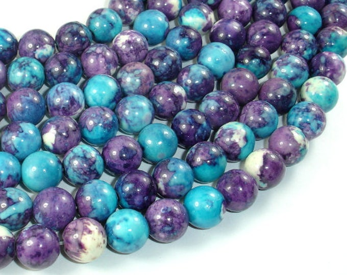 Rain Flower Stone Beads, Blue, Purple, 10mm (10.5mm) Round Beads, 15.5 Inch, Full strand, Approx 39 beads, Hole 1mm, A quality (377054033)