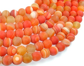 Matte Banded Agate Beads, Orange, 10mm(10.5mm) Round Beads, 15.5 Inch, Full strand, Approx 38 beads, Hole 1mm (132054053)