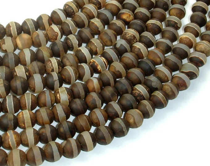 Matte Tibetan Agate Beads, 8mm Round Beads, 15 Inch, Full strand, Approx 47 beads, Hole 1mm (122054128)