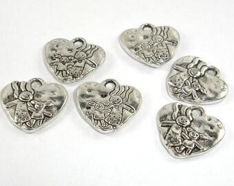 Heart Charms, Zinc Alloy, Antique Silver Tone, 16x16 mm, 10 pcs, Hole 1.9mm (006873043)