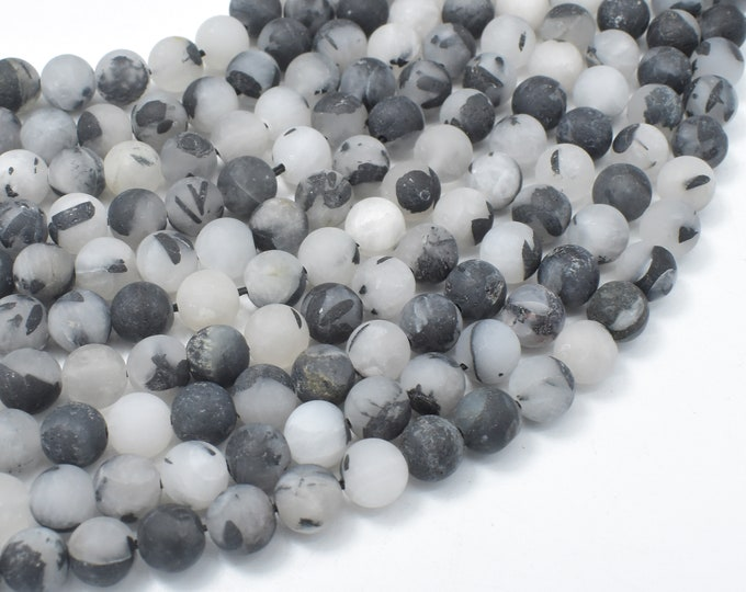 Matte Black Rutilated Quartz Beads, 6mm (6.5mm) Round Beads, 15.5 Inch, Full strand, Approx 61 beads, Hole 1mm (143054010)