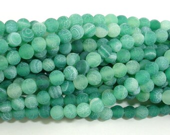 Matte Dragon Vein Agate - Green, 4mm Round Beads, 14 Inch, Full strand, Approx 93 beads, Hole 0.8mm (122054257)
