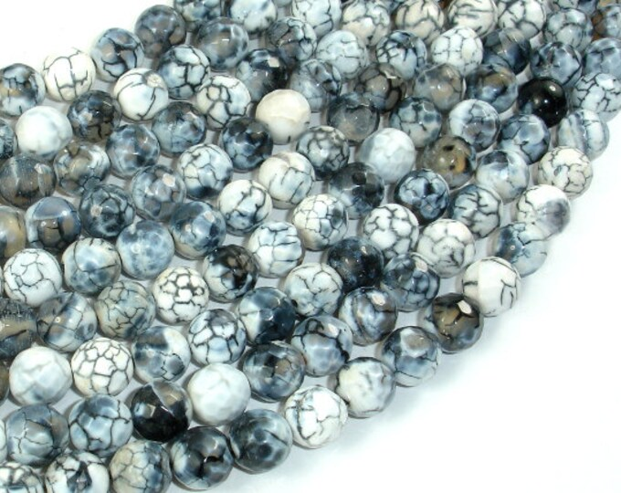 Dragon Vein Agate Beads, Gray & White,  8mm Faceted Round Beads, 14.5 Inch, Full strand, Approx 46 beads, Hole 1mm (122025292)