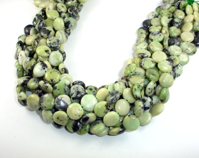 Chrysoprase Beads, Coin, 12mm, 16 Inch, Full strand, 35 beads, Hole 1mm (190008003)