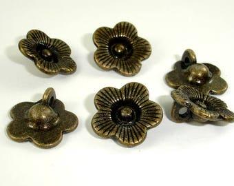 Flower Charms, Zinc Alloy, Antique Brass Tone, 14x14 mm, 20 pcs, Hole 2mm (006873039)