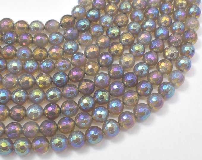 Mystic Coated Gray Agate, 8mm Faceted Round Beads, AB Coated, 15.5 Inch, Full strand, Approx 50 beads, Hole 1mm (241025008)