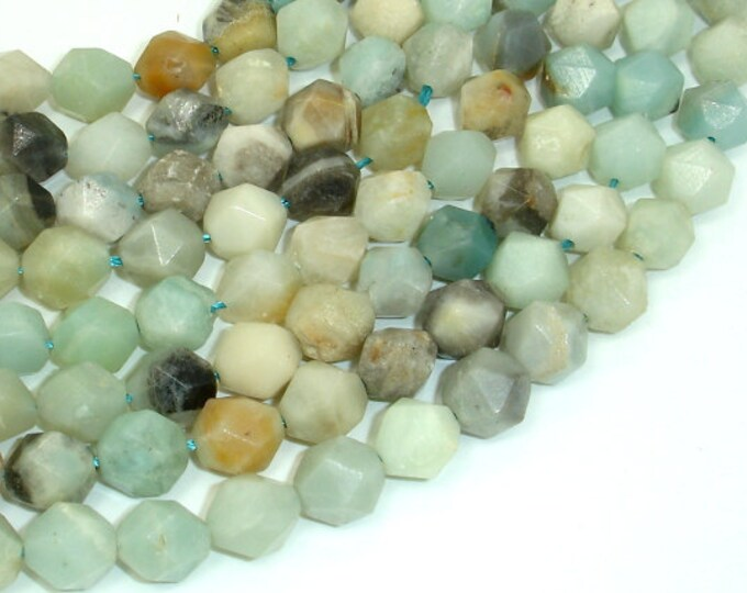 Amazonite Beads, 10mm Star Cut Faceted Round Beads, 15 Inch, Full strand, Approx 37 beads, Full strand, Hole 1mm (111186003)