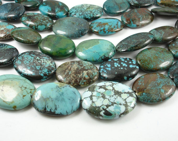 Genuine Turquoise, Approx (16-20)mmx(22-38)mm Oval Beads, 8 Inch, Half strand, Approx 7-9 beads, Hole 1 mm (328030007)
