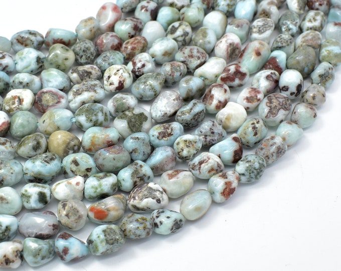 Larimar, Approx 6x8mm Nugget Beads, 16 Inch, Approx 47-55 beads, Full strand, Hole 1mm (299047001)