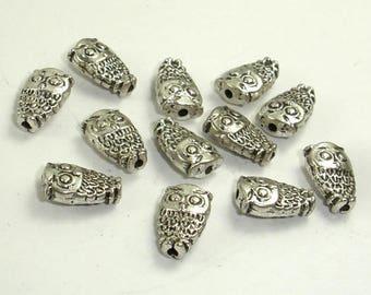 Owl Spacer, Zinc Alloy, Antique Silver Tone, 6x10x4mm, 20 pcs, Hole 1.2mm (006852099)