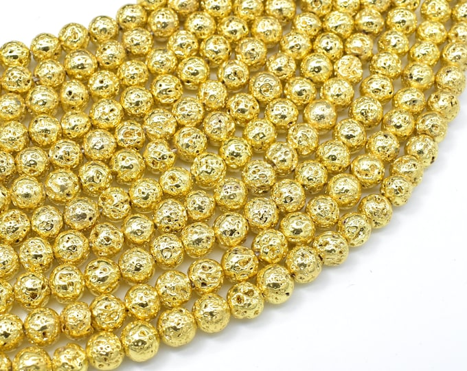 Lava-Gold Plated, 6mm (6.7mm) Round Beads, 15.5 Inch, Full strand, Approx 62 beads, Hole 1mm (300054055)
