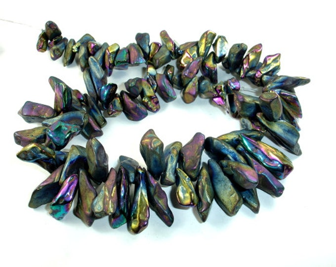 Coated Quartz Beads, Mystic Peacock, Pointed Stick, Top Drilled, (8-12)mm x (12-32)mm,15.5 Inch , Approx 70-80 beads, Hole 0.8mm (362059020)