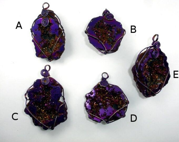1 pc Druzy Geode Pendant, Purple Geode Pendant, Quartz Pendant wrapped with wire ( PNDT3)