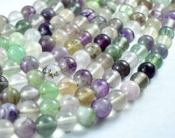 Fluorite, Rainbow Fluorite, Round, 8mm (8.3mm) beads, 15.5 Inch, Full strand, Approx 49 beads, Hole 1mm (224054010)