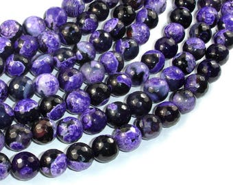 Agate Beads, Purple & Black, 10mm Faceted Round, 15.5 Inch, Full strand, Approx 38 beads, Hole 1 mm (122025068)