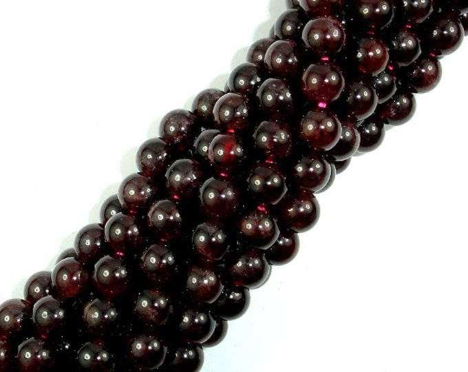 Red Garnet Beads, 6mm (6.6mm) Round Beads, 15.5 Inch, Full strand, Approx 61-65 beads, Hole 1mm (370054014)