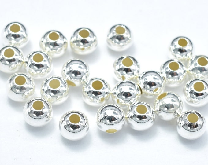 20pcs 925 Sterling Silver Beads, 4mm Round Beads, Hole 1.3mm (007903009)