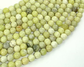 Butter Jade Beads, 6mm Round Beads, 15.5 Inch, Full strand, Approx 65 beads, Hole 1mm (176054001)