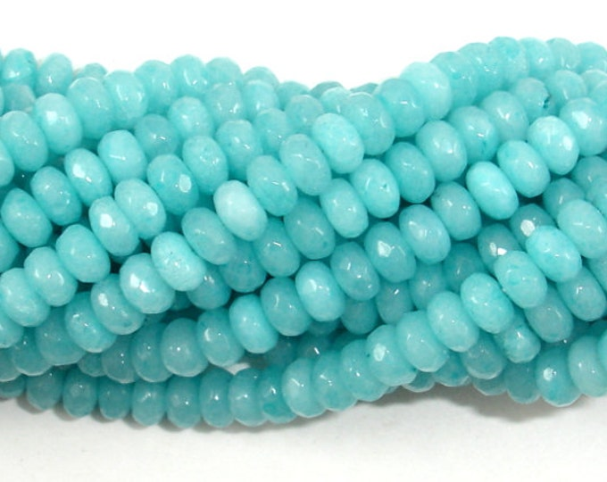Light Blue Jade Beads, Faceted Rondelle Beads, 15 Inch, Full strand, Approx 150 beads, Hole 0.6 mm,A quality (211024010)