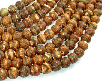 Crackle Tibetan Agate, 10mm(10.2mm) Round Beads, 14.5 Inch, Full strand, Approx 38 beads, Hole 1.2mm (122054275)