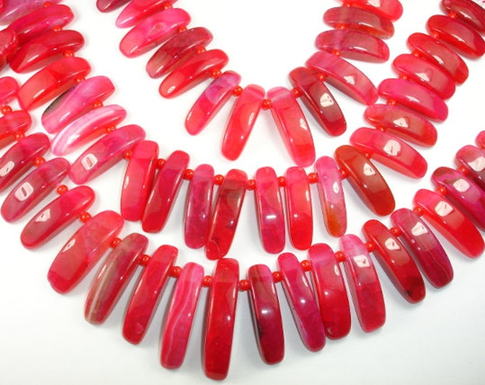 Agate Beads  Red Stick Graduated, Top Drilled, Full strand, Approx 29 beads, Hole 2.5mm (122059002)