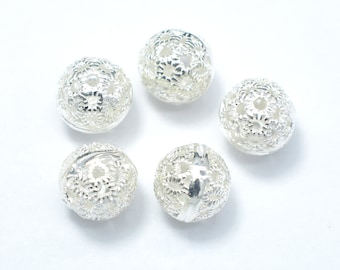4pcs 7.8mm 925 Sterling Silver Beads, 7.8mm Round Beads, Jewelry Findings, Hole 1mm (007903003)