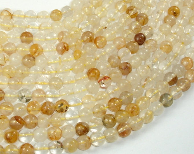 Yellow Quartz, 6mm(6.3mm) Round Beads, 15.5 Inch, Full strand, Approx 63 beads, Hole 1mm (362054002)