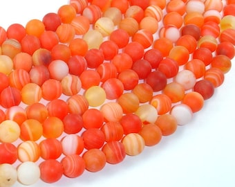 Matte Banded Agate Beads, Orange, 8mm(8.5mm) Round Beads, 15.5 Inch, Full strand, Approx 48 beads, Hole 1mm (132054052)