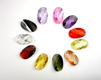 CZ beads, Cubic Zirconia Beads, 12x20mm Faceted Twisted Oval Pendant Beads, 1 piece, Hole 1mm, A Grade (SS1220)