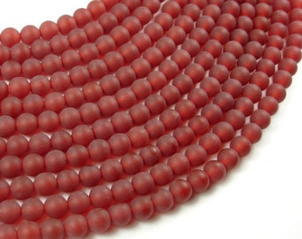 Matte Carnelian Beads, 6mm Round Beads, 15 Inch, Full strand, Approx 64 beads, Hole 1 mm, A quality (182054024)