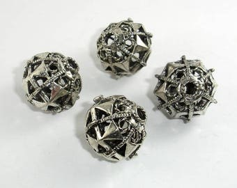 Metal Beads, Metal Hollow Round Spacer, Zinc Alloy, Antique Silver Tone, 20mm, 2 pcs, Hole 3.5mm (006852101)
