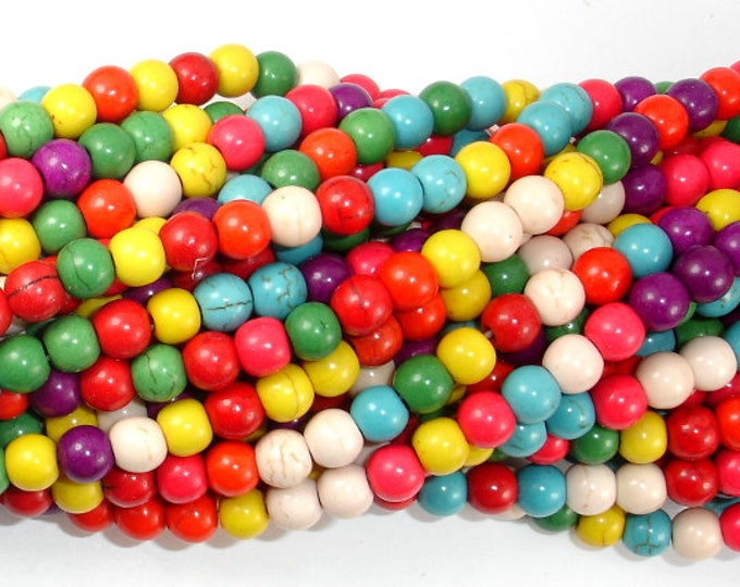 Howlite Beads, Multicolored, Round, 6mm, 15.5 Inch, Full strand, Approx 75 beads, Hole 1.2 mm (275054012)