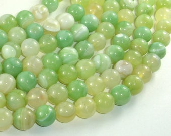 Banded Agate Beads, Light Green, 10mm(10.4mm) Round Beads, 15 Inch, Full strand, Approx 37 beads, Hole 1mm (132054044)