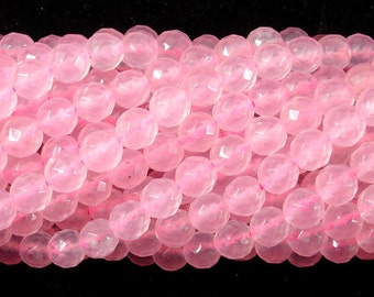 Rose Quartz, 6mm Faceted Round Beads, 15 Inch, Full strand, Approx 62 beads, Hole 1 mm, A+ quality (391025001)