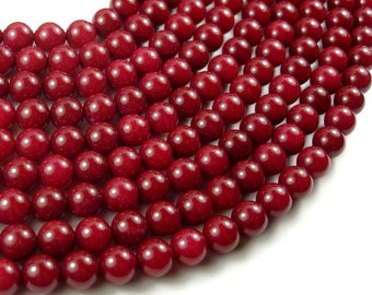 Jade Beads-Red, 8mm Round Beads, 15.5 Inch, Full strand, Approx 49 beads, Hole 1mm (211054175)