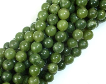 Canadian Jade Beads, 8mm (8.3mm) Round Beads, 15.5 Inch, Full strand, Approx 48 beads, Hole 1mm, A quality (179054001)