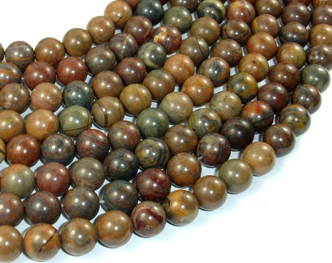 Wealth Stone Jasper Beads, 10mm (9.5mm) Round Beads, 15.5 Inch, Full strand, Approx 39 beads, Hole 1 mm, A quality (288054028)