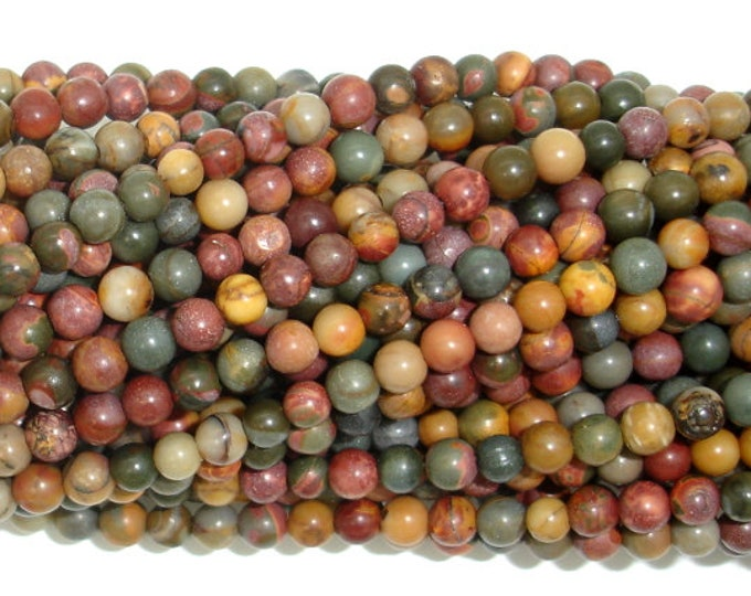 Picasso Jasper, 4mm(4.5mm) Round beads, 15 Inch, Full strand, Approx 90 beads, Hole 1 mm,  A quality (344054008)