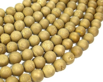 Druzy Agate Beads, Gold Geode Beads, Approx 8 mm(8.5 mm) Round Beads, 15 Inch, Full strand, Approx 47 beads, Hole 1 mm (122054173)