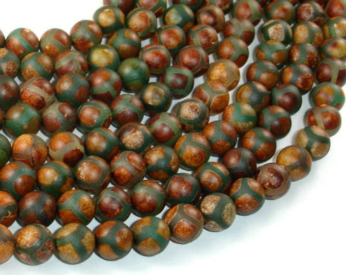 Tibetan Agate Beads, 8mm (8.4mm) Round Beads, 15.5 Inch, Full strand, Approx 48 beads, Hole 1 mm, A quality (122054062)