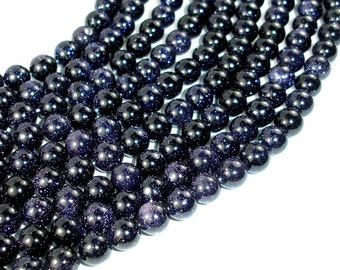 Blue Goldstone Beads, 8mm(8.3mm) Round Beads, 15.5 Inch, Full strand, Approx 49 beads, Hole 1mm, A quality (164054003)