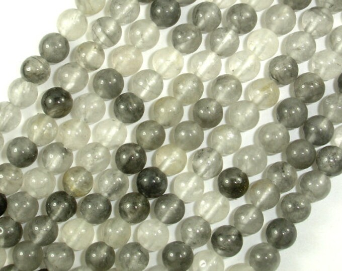 Gray Quartz Beads, Round, 6mm (6.7 mm), 15.5 Inch, Full strand, Approx 59 beads, Hole 1 mm, A quality (242054001)